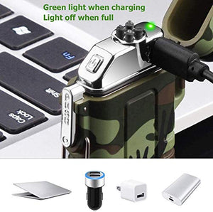 Lighter,Plasma Lighter Waterproof Windproof Arc Lighter USB Rechargeable Electric Lighters with Emergency Whistle for Hiking,Outdoor,Adventure,Survival Tactical - SHTFSTOCKPILE.COM