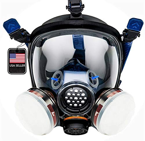 PT-100 Full Face Gas Mask & Organic Vapor Respirator- ASTM Tested - 1 Year Full Manufacturer Warranty - Eye Protection - SHTFSTOCKPILE.COM