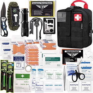 EVERLIT 250 Pieces Survival First Aid Kit IFAK Molle System Compatible Outdoor Gear Emergency Kits Trauma Bag for Camping Boat Hunting - SHTFSTOCKPILE.COM