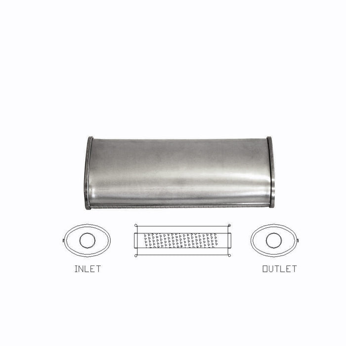 "2.25"" Inch Universal Car Muffler 5""x 3"" Oval 14"" Long Glass Packed Stubless C/C"