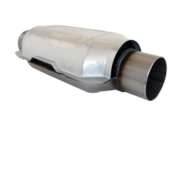 2.5 inch Universal Oval Catalytic Converter - Stainless Metallic 300 CPSI - EUROII EURO2