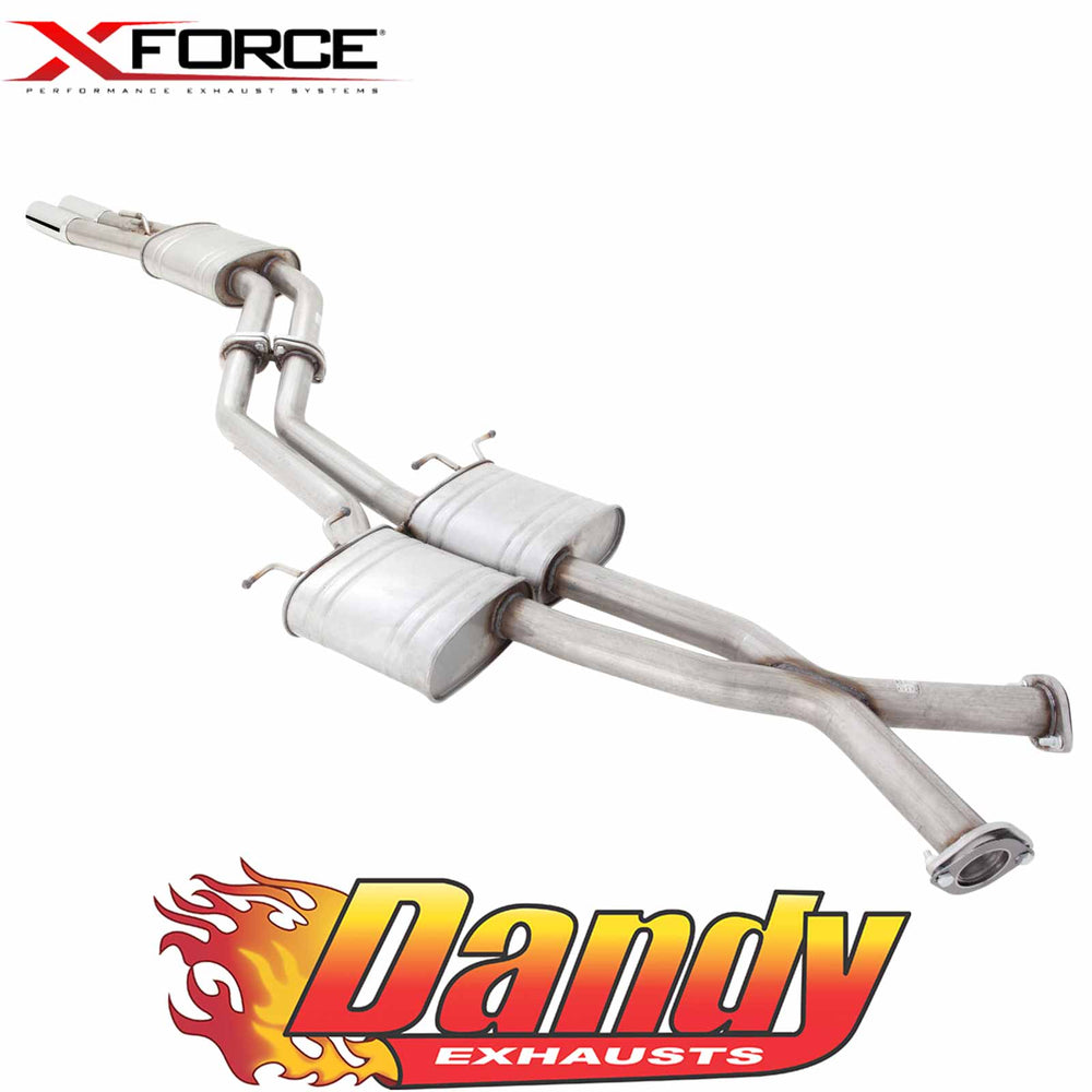 "Holden Commodore VT-VZ Sedan XFORCE Twin 2.5"" Catback Exhaust Tailpipe Rear - Raw 409"