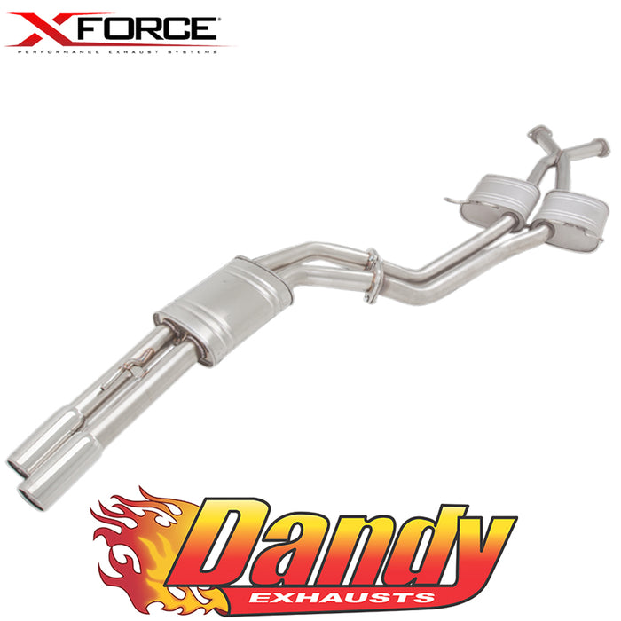 "Holden Commodore VT-VZ Sedan XFORCE Twin 2.5"" Catback Exhaust Tailpipe Rear - Polished SS"