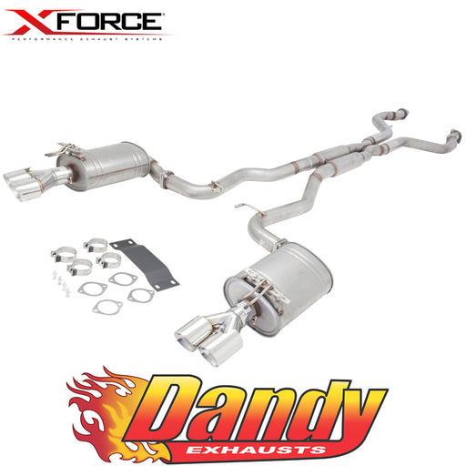 "Holden Commodore VE VF Sedan XFORCE Twin 3"" Catback Exhaust - Raw Finish 409"