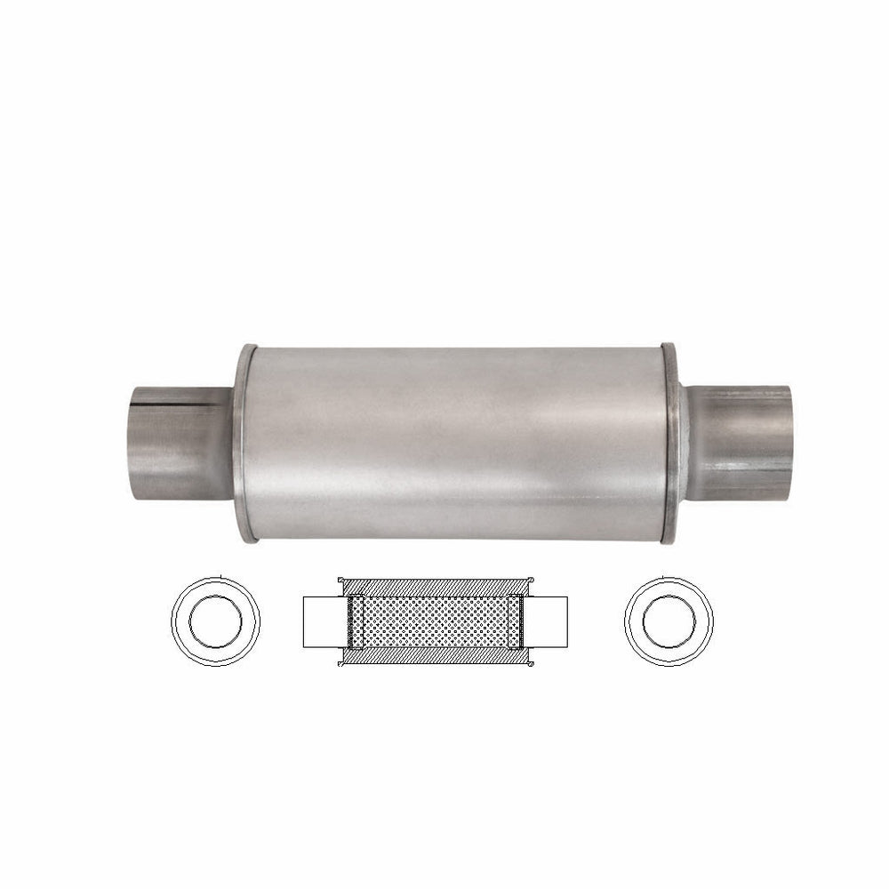 "2.5"" Inch Universal Car Muffler 5"" Round X 12"" Inch Long Straight Through"