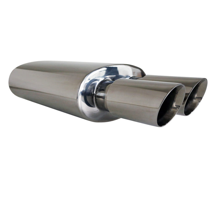"Stainless Exhaust Cannon Oval - 2.25"" Inlet & Dual 3"" Outlet - Inner Cone Angle Tip"