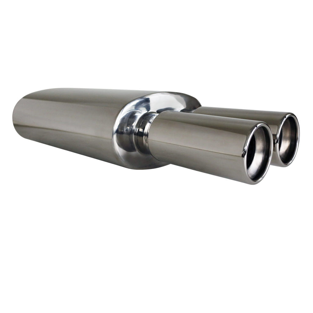 "Stainless Exhaust Cannon Oval - 2.5"" Inlet & Dual 3"" Outlet - Straight Cut Tip"