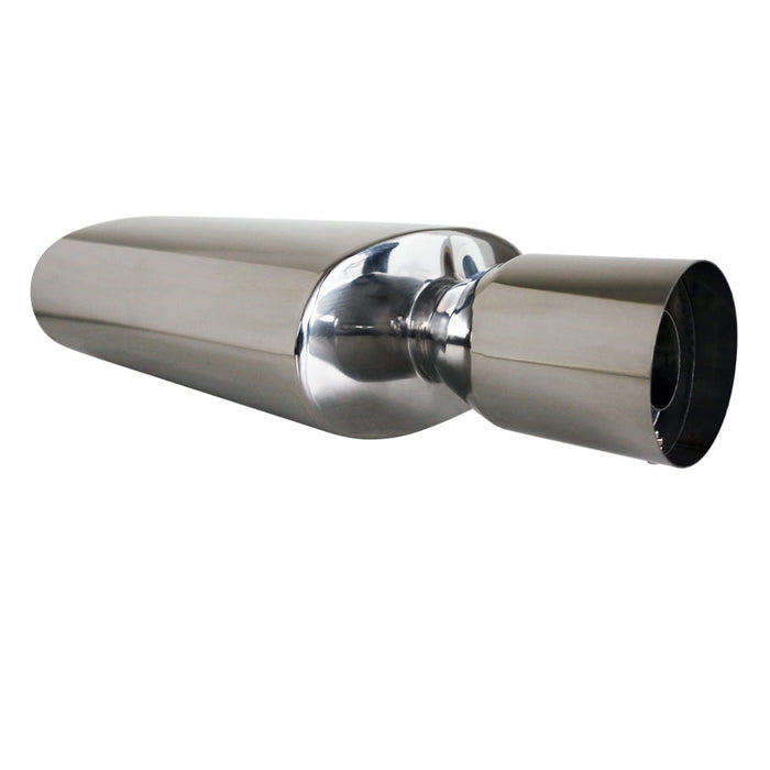 "Stainless Exhaust Cannon Oval - 2.5"" Inlet & 4"" Outlet - Straight Cut Tip"