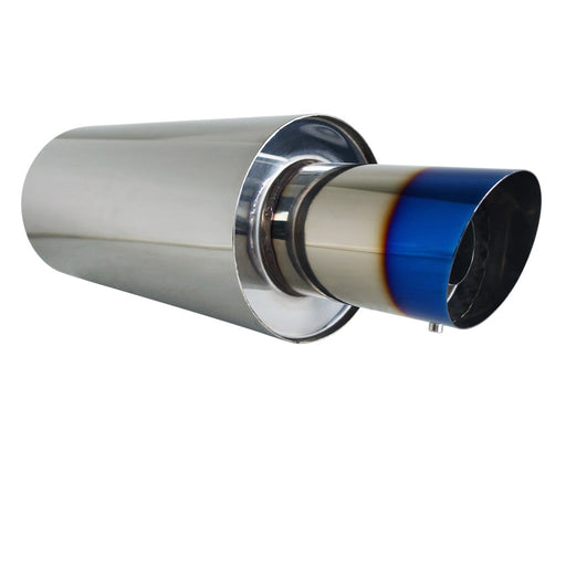 "Stainless Exhaust Cannon Round - 3"" Inlet & 4"" Outlet - Angle Cut Blue Flame Tip"