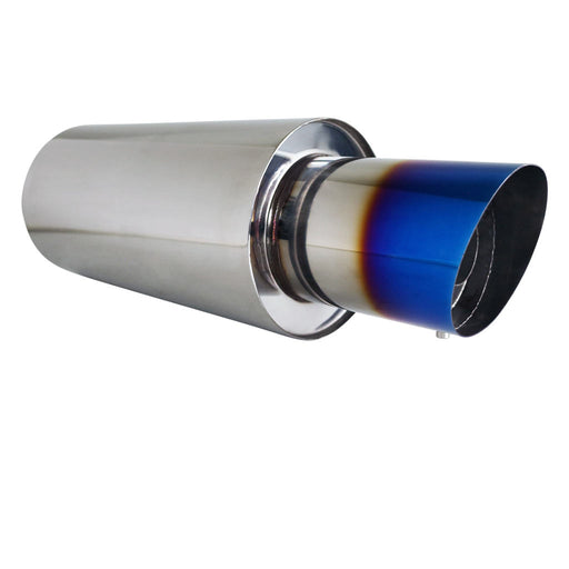 "Stainless Exhaust Cannon Round - 3"" Inlet & 4.5"" Outlet - Angle Cut Blue Flame"