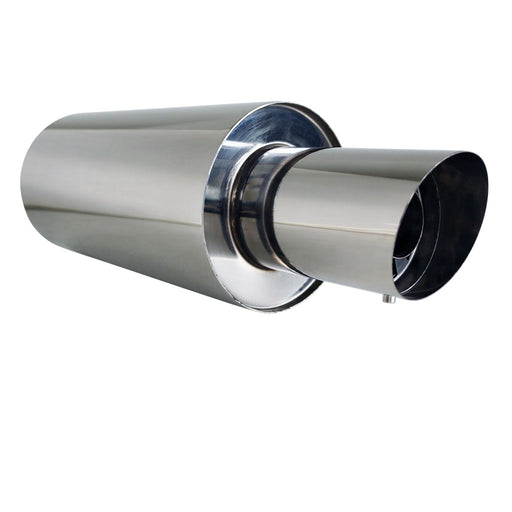 "Stainless Exhaust Cannon Round - 2.5"" Inlet & 4"" Outlet - Angle Cut Tip"