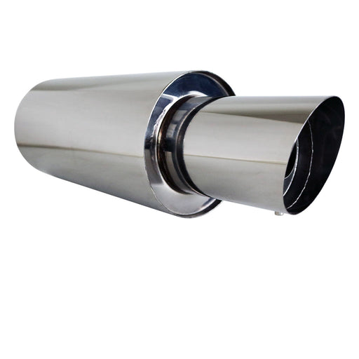 "Stainless Exhaust Cannon Round - 3"" Inlet & 4.5"" Outlet - Angle Cut Tip"