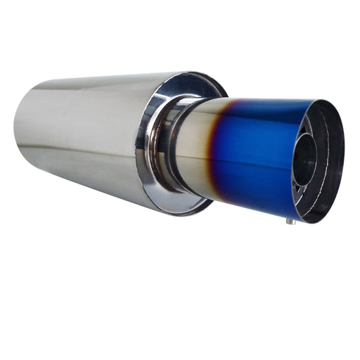 "Stainless Exhaust Cannon Round - 2.5"" Inlet & 4.5"" Outlet - Straight Cut Blue Flame"