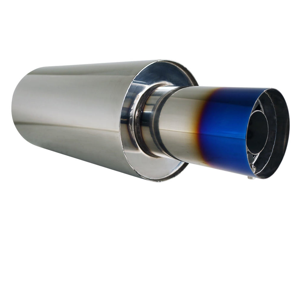 "Stainless Exhaust Cannon Round - 3"" Inlet & 4"" Outlet - Straight Cut Blue Flame"