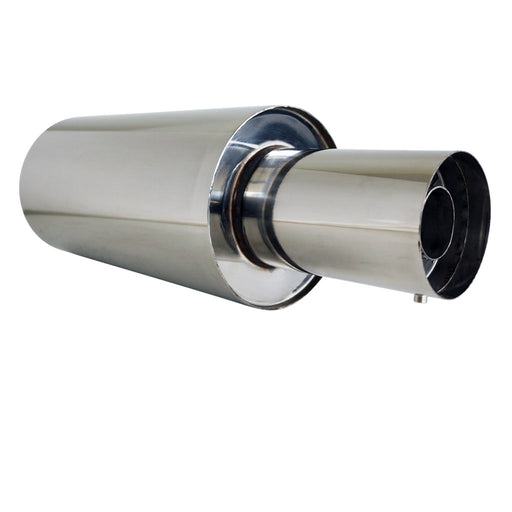 "Stainless Exhaust Cannon Round - 2 .25"" Inlet & 4"" Outlet - Straight Cut Tip"