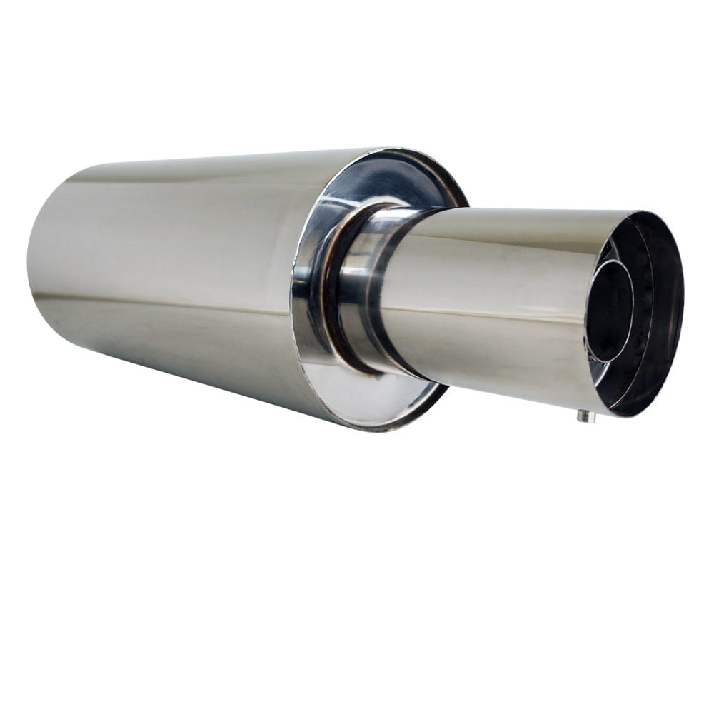 "Stainless Exhaust Cannon Round - 3"" Inlet & 4"" Outlet - Straight Cut Tip"