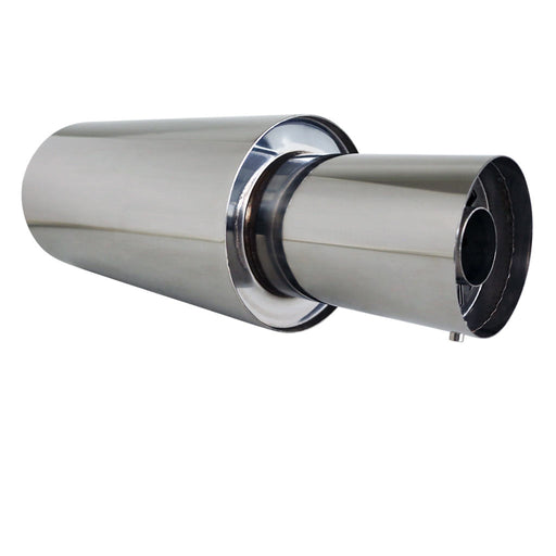 "Stainless Exhaust Cannon Round - 3"" Inlet & 4.5"" Outlet - Straight Cut Tip"