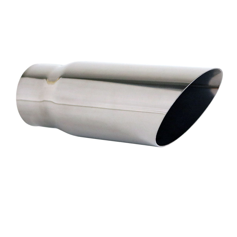 "Exhaust Tip Angle Cut 2.5"" In - 2.75"" Out 8"" Long 304 Stainless Steel"