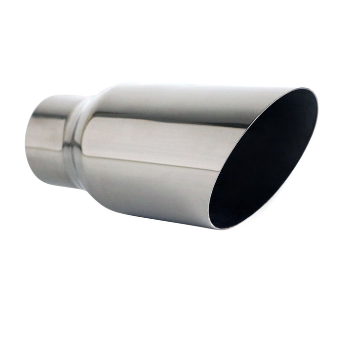 "Exhaust Tip Angle Cut 2.5"" In - 3.5"" Out 8"" Long 304 Stainless Steel"