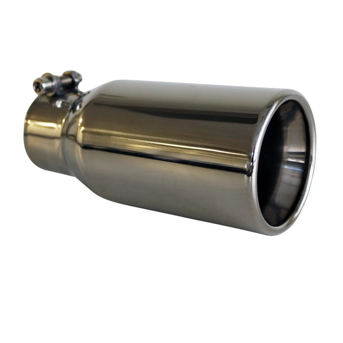 "Exhaust Tip Straight Cut Rolled Inner Cone 2.25"" In - 80mm Out 304 Stainless"