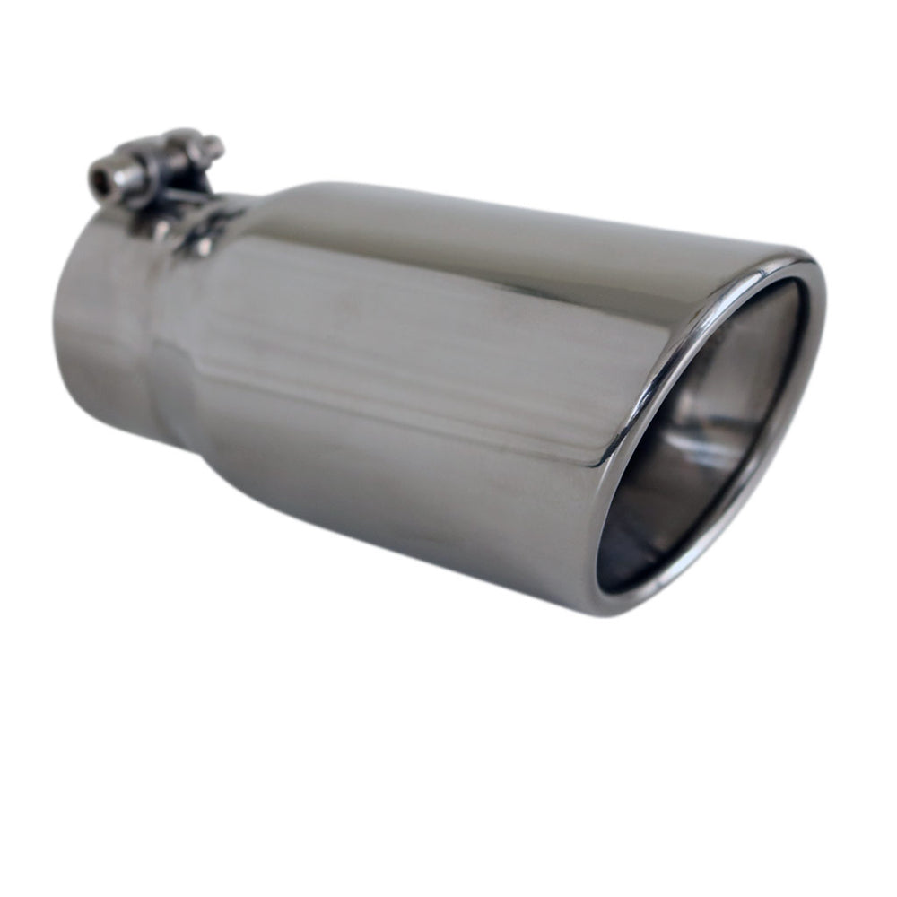 "Exhaust Tip Angle Cut Rolled Inner Cone 2.5"" In - 80mm Out 7"" Long 304 Stainless"