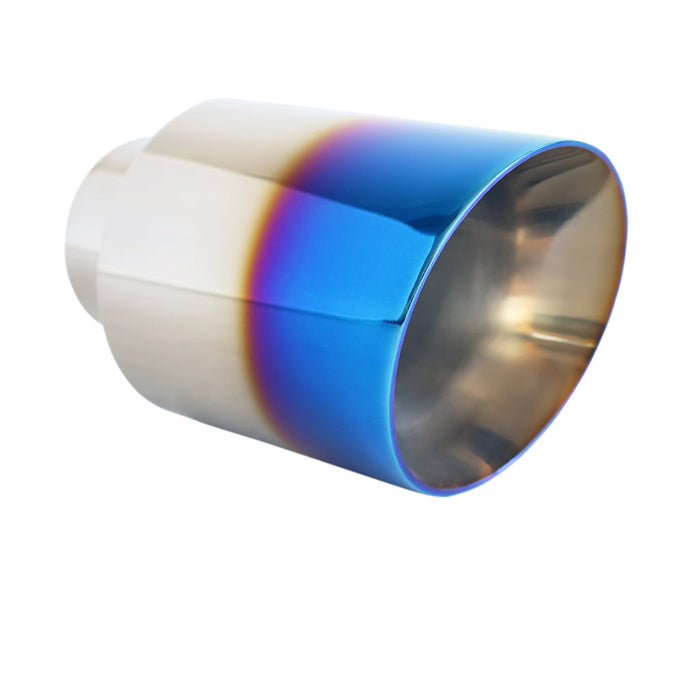 "Exhaust Tip Angle Cut Inner Cone 2.5"" In - 4"" Out 6.5"" Long 304 Blue Flame"