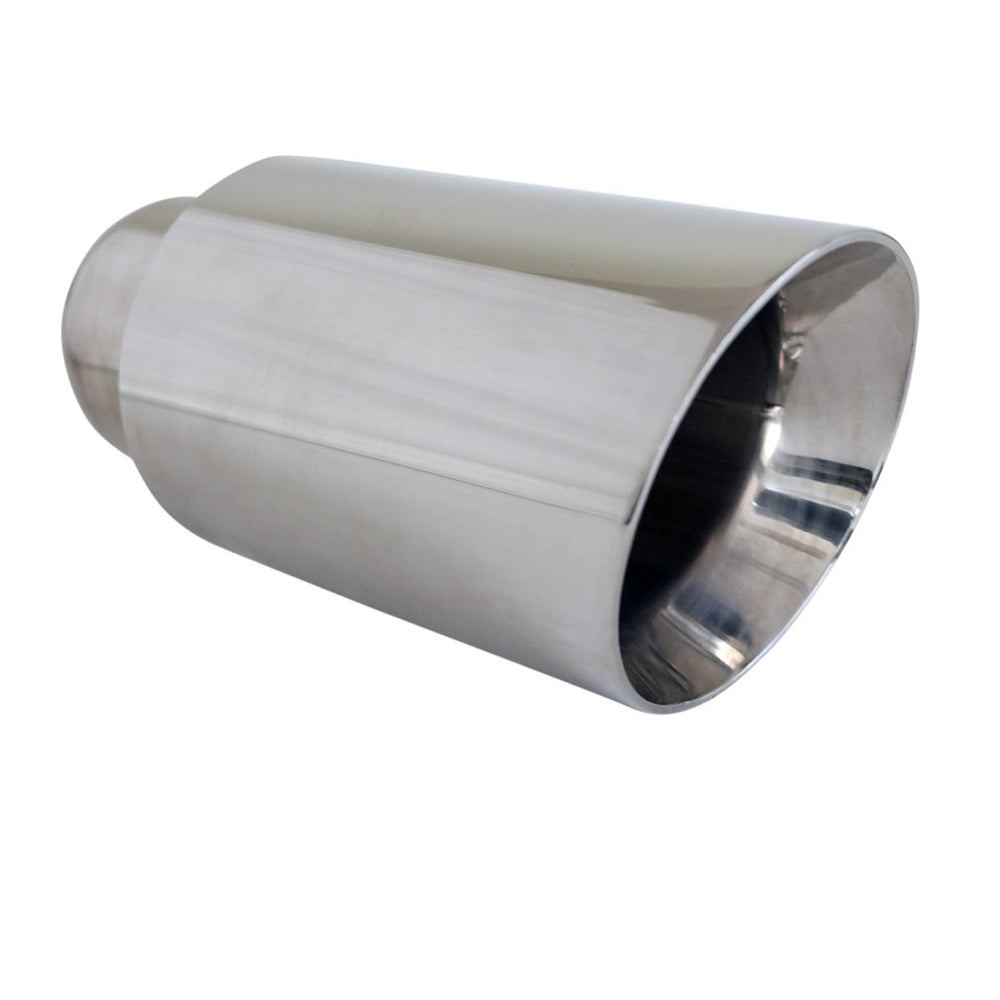 "Exhaust Tip Angle Cut Inner Cone 2.5"" In - 4"" Out 6.5"" Long 304 Stainless Steel"