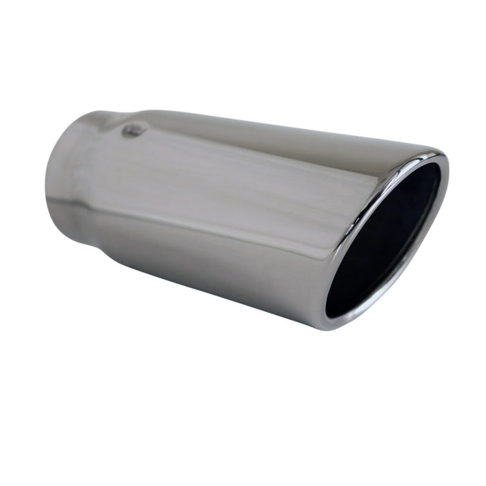 "Exhaust Tip Angle Cut Rolled In 2.5"" In - 3"" Out 7"" Long 304 Stainless Steel"