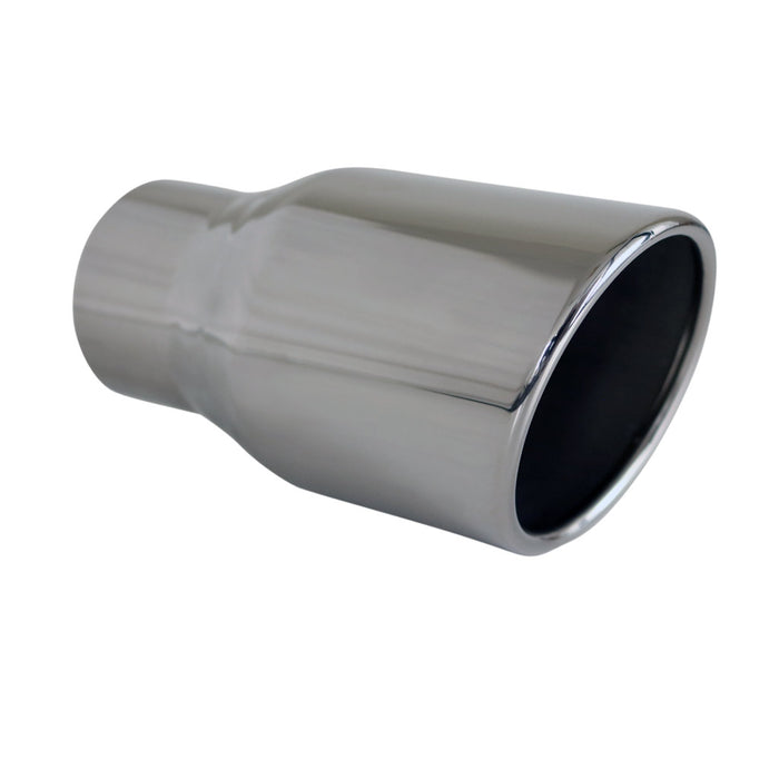 "Exhaust Tip Angle Cut Rolled In 2.5"" In - 3.5"" Out 5"" Long 304 Stainless Steel"