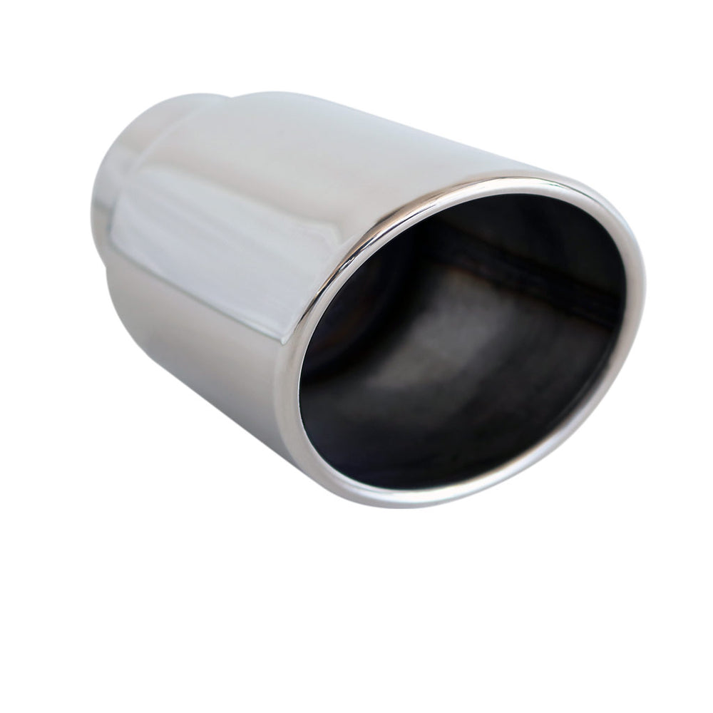 "Exhaust Tip Oval VQ 2.5"" In 95mm x 85mm Out 6 1/2"" Long 304 Stainless Steel"