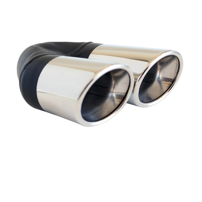 "Exhaust Tip Angle Cut Rolled Inner Cone 2.25"" In - Dual 3"" Out LHS 304 Stainless"