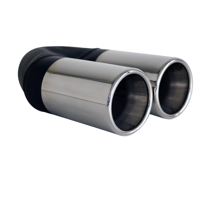 "Exhaust Tip Straight Cut Rolled Inner Cone 2.25"" In - Dual 3"" Out 304 Stainless"