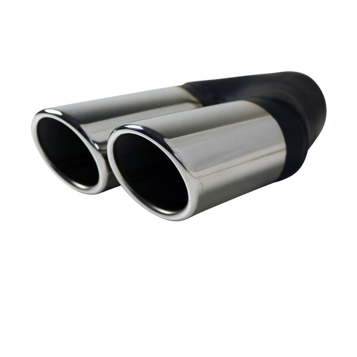 "Exhaust Tip Angle Cut Rolled In 2.25"" In - Dual 2.5"" Out RHS 304 Stainless"