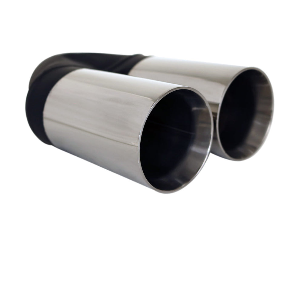 "Exhaust Tip Straight Cut Inner Cone 2.25"" In - Dual 3"" Out 9"" Long 304 Stainless"