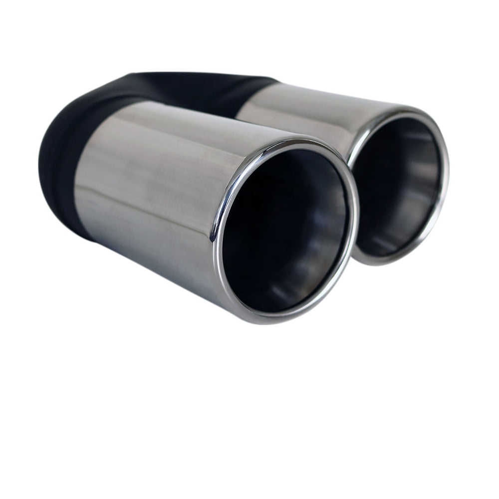 "Exhaust Tip Straight Cut Rolled Inner Cone Stepped 2.25"" In 2x 80mm Out Stainless"