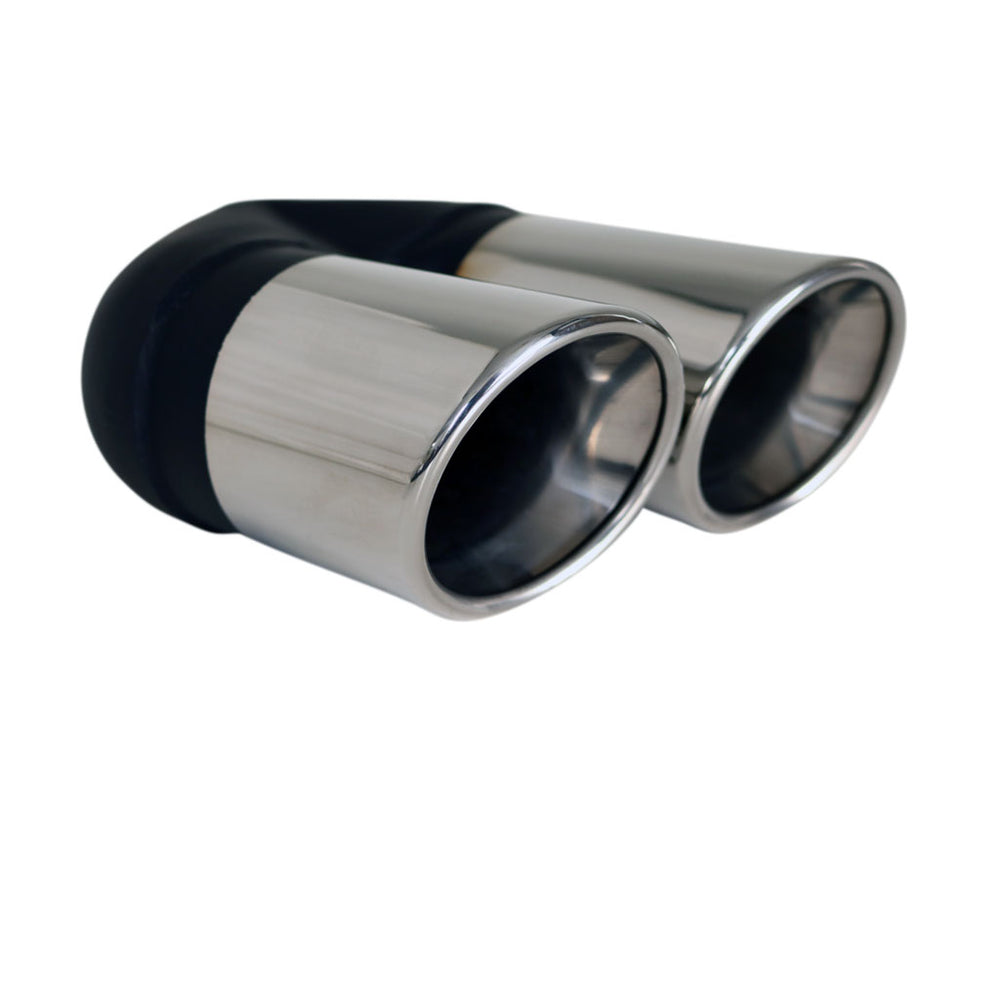 "Exhaust Tip Angle Cut Rolled Inner Cone 2.25"" In Dual 80mm Out LHS 304 Stainless"