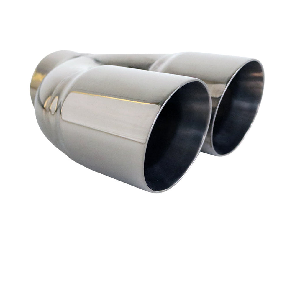 "Exhaust Tip Angle Cut Inner Cone Tapered 3"" In Dual 3.5"" Out RHS 304 Stainless Steel"