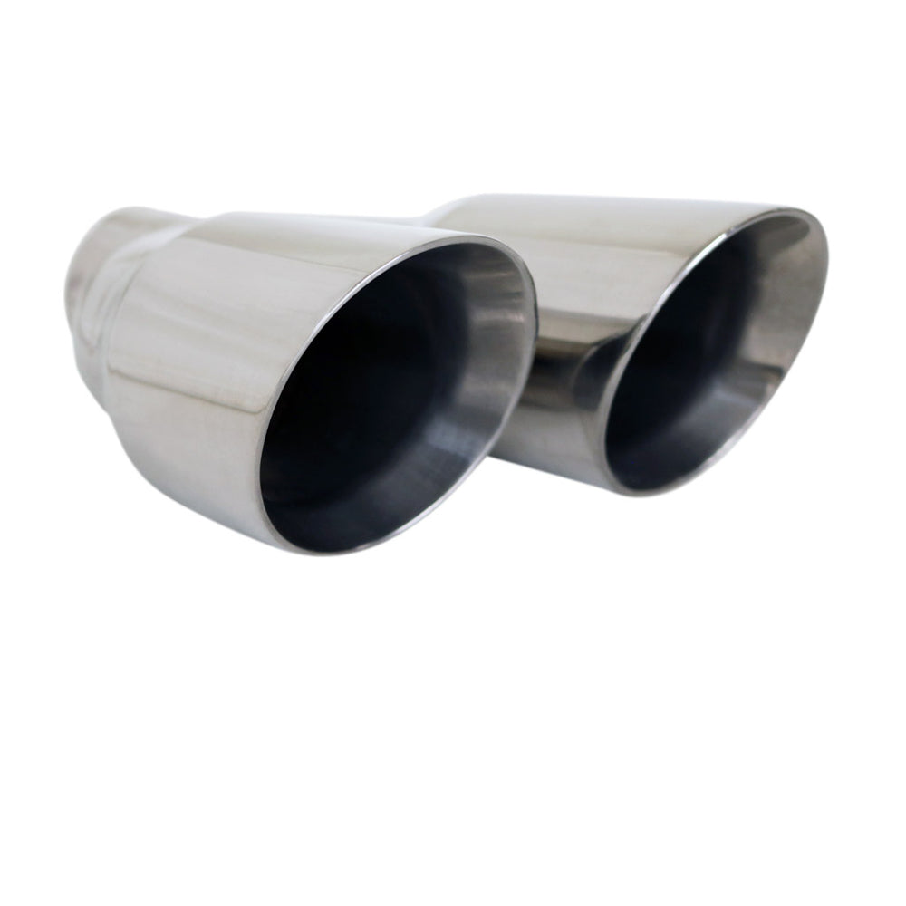 "Exhaust Tip Angle Cut Inner Cone Taper Stepped 2.5"" In Dual 3.5"" Out LHS 304 SS"