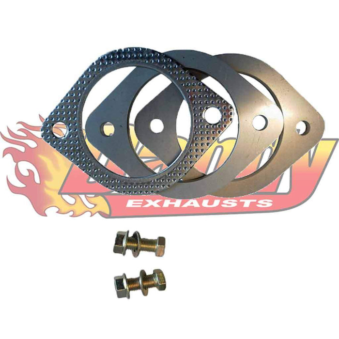 Exhaust Flange Plates 57Mm 2.25 Inch With Gaskets & Nuts & Bolts 10Mm - DandyExhaust