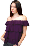 A chiffon plum-purple top with an off-the-shoulder neckline, ruffled short sleeves and billowy silhouette. Ideal for bright and sunny days or even a romantic evening.