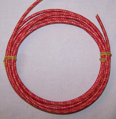 16 gauge Cloth Covered Primary Wire--Red with Yellow Tracers