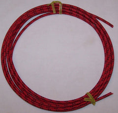 10 gauge Cloth Covered Primary Wire--Red with Black Tracers