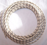 16 gauge Cloth Covered Primary Wire--White with Black Tracers