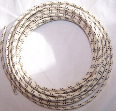 14 gauge Cloth Covered Primary Wire--White with Black Tracers