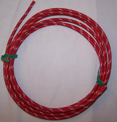 12 gauge Cloth Covered Primary Wire--Red with White Tracers