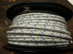 16 gauge Cloth Covered Primary Wire--White with Blue Tracers