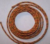 14 gauge Cloth Covered Primary Wire--Orange with Red and Black Tracers