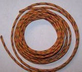 12 gauge Cloth Covered Primary Wire--Orange with Red and Black Tracers
