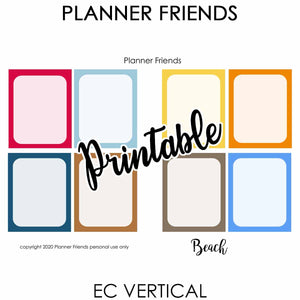 "EC VERTICAL Digital Printable Weekly Stickers ""BEACH"""