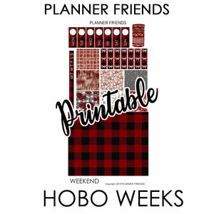 "HOBONICHI WEEKS Digital Printable ""BUFFALO PLAID"" Weekly Sticker Kit"